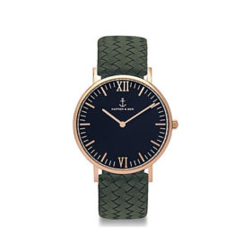 Kapten & Son Campus Black Pine Green Woven Leather – CB00B1036F32A