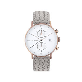 Kapten & Son Chrono Grey Woven Leather – CD00A1002F22A