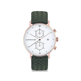 Kapten & Son Chrono Pine Green Woven Leather – CD00A1036F32A