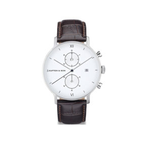 Kapten & Son Chrono Silver Dark Brown Croco Leather – CD03A0303F01A