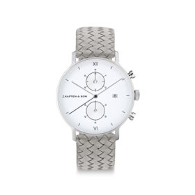 Kapten & Son Chrono Silver Grey Woven Leather – CD03A1002F12A