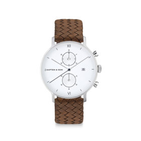 Kapten & Son Chrono Silver Brown Woven Leather – CD03A1003F12A