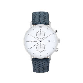 Kapten & Son Chrono Silver Light Blue Woven Leather – CD03A1008F01A