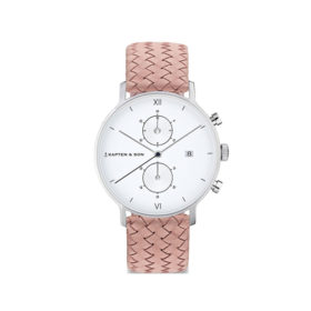 Kapten & Son Chrono Silver Rose Woven Leather – CD03A1031F12A