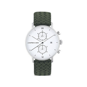 Kapten & Son Chrono Silver Pine Green Woven Leather – CD03A1036F32A