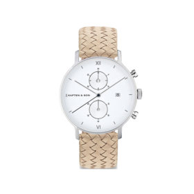 Kapten & Son Chrono Silver Sand Woven Leather – CD03A1037F12A