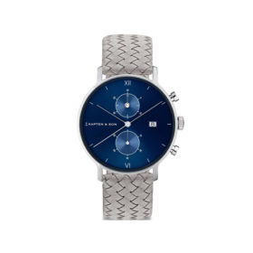 Kapten & Son Chrono Silver Blue Grey Woven Leather – CD03C1002F12A