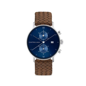 Kapten & Son Chrono Silver Blue Brown Woven Leather – CD03C1003F12A